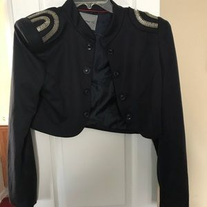 Navy cropped silver jeweled shoulder blazer